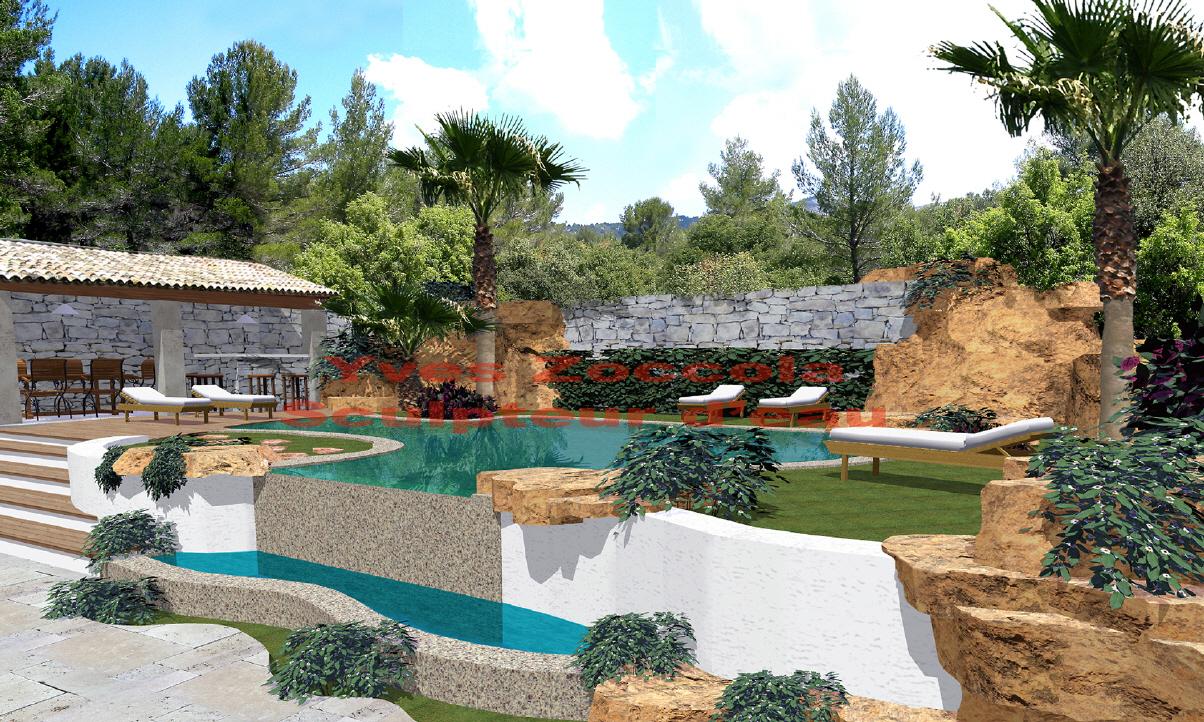 Piscine piscines formes libres for Piscine forme libre avec plage 3 plage immergee et piscine diffazur piscines