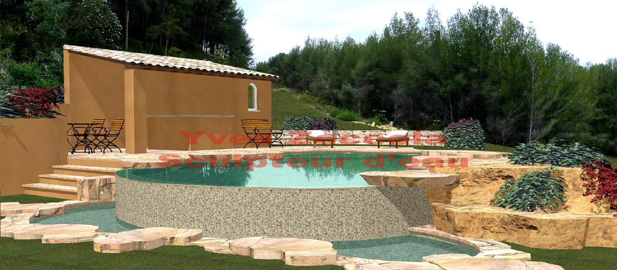 Piscine piscines formes libres - Revetement piscine pierre naturelle ...